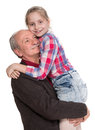 Grandfather with granddaughter on a white background Royalty Free Stock Photo