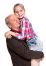 Grandfather with granddaughter on a white background Stock Photography