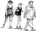 Grandfather grandmother and grandson vector drawing of the family on a walk Royalty Free Stock Images