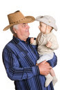 Grandfather and grandson in a cowboy hat Stock Images