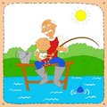 Grandfather with a grandson on fishing Royalty Free Stock Photography