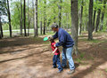Grandfather Grandson Frisbee Golf Stock Image