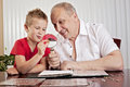 Grandfather and grandson looking at coin collection. Royalty Free Stock Photo