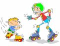 Grandfather and grandson on roller skates Stock Photography