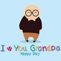Grandfather i love you grandpa with abstract character on blue background Stock Photos