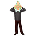 Grandfather with little girl on shoulders vector illustration isolated