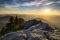 Grandfather mountain appalachian sunset blue ridge parkway western nc in the mountains of north carolina Stock Photos