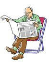 Grandfather reading the newspaper grandparent news of day in sitting in a beach chair Stock Photo