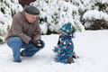Grandfather and toddler boy  on winter day Royalty Free Stock Photo