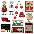 Grandma & Cherry Pie Stock Photography