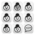 Grandma face woman with bun hair buttons set collection of old girl asian style faces happy sad angry Stock Photos