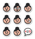 Grandma face woman with bun hair icons set collection of old girl asian style faces happy sad angry Stock Photo