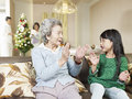 Grandma and granddaughter playing at home Stock Photography