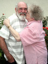 Grandma kissing grandpa Stock Photography