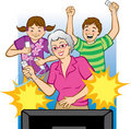 Grandma Playing Video Games Royalty Free Stock Image
