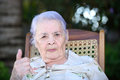 Grandma showes thumb up Royalty Free Stock Photo