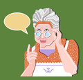 Grandmother gesture.Granny old woman gesture. Retro vector illustration. Pretty old woman in glasses gives an advice.Green backgro