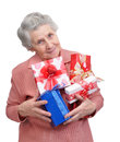 Grandmother with gifts on white background Royalty Free Stock Photography