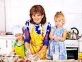 Grandmother and grandchild baking cookies granddaughter Royalty Free Stock Photos