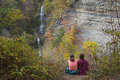 Grandmother and granddaughter enjoying the view at the park letchworth state in new york Stock Photos