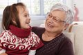 Grandmother and granddaughter laughing Royalty Free Stock Photo