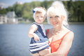 Grandmother and granddaughter near the river grandma Royalty Free Stock Photography