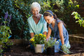 Grandmother and granddaughter planting various flower pots