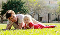 Grandmother and granddaughter playing together outdoors Stock Photography