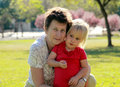 Grandmother and granddaughter playing together outdoors Stock Images