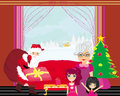 Grandmother with granddaughters waiting for santa claus illustration Royalty Free Stock Image
