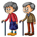 Grandmother and grandfather with walkingstick