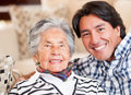 Grandmother and grandson Royalty Free Stock Images
