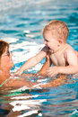 Grandmother and grandson swim Stock Photo