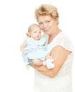 Grandmother holding newborn baby on white Stock Images
