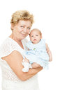 Grandmother holding newborn baby on white Royalty Free Stock Images