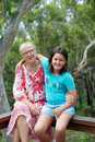 Grandmother portrait of happy with her granddaughter Royalty Free Stock Image