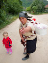 Grandmother protects her grandchildren Royalty Free Stock Photo