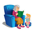 Grandmother reads a book to the girl. Vector Royalty Free Stock Photo