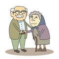 Grandpa and grandma vector illustration of grandfather grandmother Royalty Free Stock Image