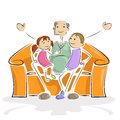 Grandpa with Kids Stock Images