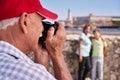 Grandparents With Boy Family Holidays Grandpa Taking Photo Royalty Free Stock Photo
