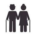 Grandparents couple silhouette icon