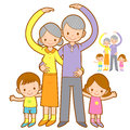 Grandparents and Grandchildren Mascot love gesture. Home and Fam Royalty Free Stock Photo