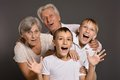 Grandparents with grandkids portrait of Royalty Free Stock Photography