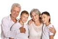 Grandparents with grandkids on white background Royalty Free Stock Photography