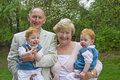 Grandparents with grandsons Stock Photography