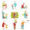 Grandparents And Kids Having Fun Together Set Of Illustrations