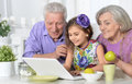 Grandparents and little girl using laptop