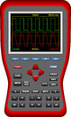Grands oscilloscopes tenus dans la main d écran de digital Images stock