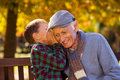 Grandson whispering to grandfather Royalty Free Stock Photo